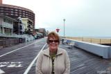 April 2010 - Karen on an empty boardwalk at Ocean City, Maryland