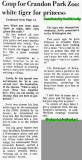 1970 - article about Rajah the white tiger donation to the Crandon Park Zoo a week before Princess died - Part 2