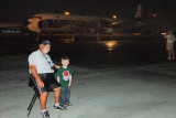 Eddy Gual with my grandson Kyler and the restored Eastern Air Lines DC-7B N836D