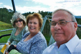 August 2010 - Brenda, Karen and Don riding the ski lift to her son Justin's wedding to Erica Mueller on the mountain