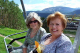 August 2010 - Brenda with my wife Karen on the ski lift going up to Justin and Erica's wedding