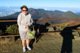 August 2010 - Karen on top of the Haleakalā (East Maui) volcano at 10,000+ feet with high winds and temps in the low 50's