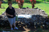 August 2010 - Karen at the gravesite of Charles A. Lindbergh at Palapalo Ho'omau Church Cemetery