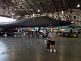 July - Kyler and Grandpa Boyd with a rare Rockwell B-1A Lancer bomber at the Wings Over the Rockies Air & Space Museum