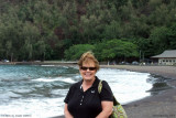 August 2010 - Karen on the black sand beach at Hana, Maui