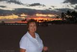 August 2010 - Karen on Waikiki Beach at sunset