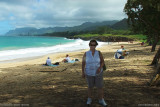 August 2010 - Karen on the beach on the northeast side of Oahu