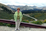 August 2010 - Karen on the road leading to Cottonwood Pass over the Continental Divide in Colorado