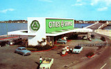 1950's - the Cities Service gas station located in the middle of Broad Causeway