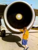 March 1992 - Brenda standing by the #1 engine on Varig Airlines DC10-30 PP-VMW at Miami International Airport