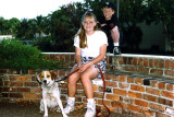 March 1992 - Brenda's son Justin Reiter Goto with my daughter Karen Dawn Boyd and her dog Sparky