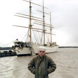 1967 - SN Don Boyd in front of the damaged Coast Guard Barque EAGLE (WIX-327) at the Coast Guard Yard, Curtis Bay, Maryland