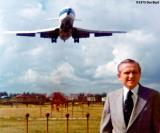 1975 - Colonel Frank Borman posing for ad agency cameras at Miami International Airport