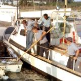 1967 - SN Bruce, EN3 Smith, BM3 Alfred Hill and SN Dennis Stuver onboard CG-40485 at Coast Guard Station Lake Worth Inlet