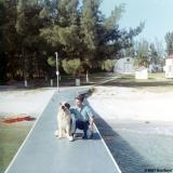1967 - Don posing with Buster, our St. Bernard mascot at Coast Guard Station Lake Worth Inlet, on Peanut Island