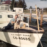 1967 - Posing with Buster, our St. Bernard mascot on CG-40485 at Coast Guard Station Lake Worth Inlet, Peanut Island