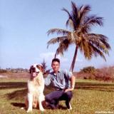 1967 - Posing with Buster, our St. Bernard mascot in front yard of Coast Guard Station Lake Worth Inlet, Peanut Island