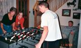 November 2003 - Brenda, Karen Dawn, and Brenda's son Justin Reiter playing Foosball
