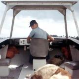 1967 - SN Dan Yurcik, USCG and Buster on TICWAN boat
