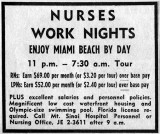 1964 - Mt. Sinai Hospital ad for night nurses in The Miami News