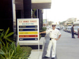1969 - YN2 Don Boyd, USCG, in front of the Coast Guard Recruiting Office in the Federal Building, downtown Tampa