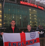 John and friend Russell at Old Trafford