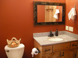 Second bedroom's bathroom doubles as a powder room for guests.