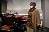 Day dress, 1926-7, cotton and rayon velvet, cotton broadcloth; motoring helmet, 1920s; goggles