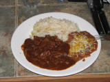 Carne Guisada, rice and beans