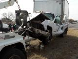 GMC 3500 box truck Veers into oncoming traffic