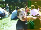 Ryan  eats drumstick