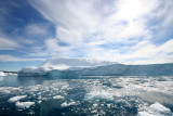 Icebergs floating across Disco Bay, Greenland