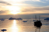 Midnightsun over the icefjord (Iceland)