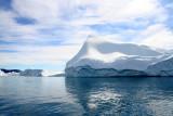 Icebergs floating across Disco Bay