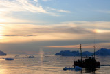 Midnightsun over the icefjord