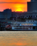 Sunset over the Mississippi River at New Orleans