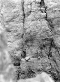 Grande Aiguille d'Ansabère : au pied de la fissure Calame-Carrive