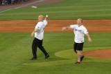 Cal Ripken Jr. and Billy Ripken throw out the ceremonial first pitch