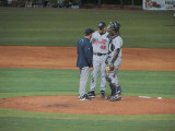 Fort Myers pitching coach Steve Mintz visits the mound