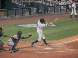 Shawn O'Malley hits a sac fly to right