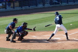 Shawn O'Malley hits a line drive to left