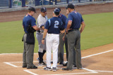 Jim Morrison and Luis Sojo exchange lineups prior to game 4 of FSL Championships