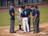 Jim Morrison and Luis Sojo exchange lineups for game five of the championship series