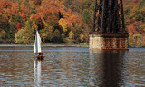 Sailing Under the Poughkeepsie RR Bridge II