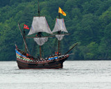 Henry Hudson's HalfMoon Sailing up the Hudson River