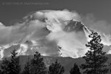 Shasta, West Side, Clouds Clinging to Mountain, Foreground Trees