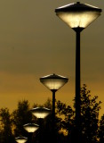 street lights by sunset