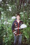 Randi in a hydrangea patch