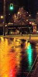 Traffic lights in the rain