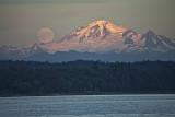 moonrise over Mt. Baker, WA